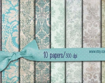 Green gray blue Vintage Digital Scrapbooking Papers pack  8.5x11 inch damask  Decoupage,  10  papers to Download (24)