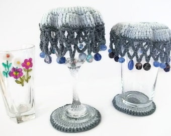 CLEARANCE SALE!! Beaded Glass Covers & Coaster Sets inDk Grey and Pale Blue. Camping, Spring, Summer, Picnics, Alfresco, BBQ, Garden Party..