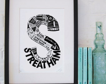 Best of Streatham - London print - London poster - London Art - Typographic Print - London illustration - letter art - South London poster