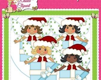 Christmas Fairies Clipart (Digital Download)