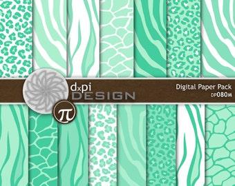 Sea Green Animal Prints - Digital Paper Background Images for Scrapbooking - Zebra, Leopard, Tiger, Giraffe - Instant Download (DP080M)