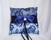 Navy Blue White Ribbon Emboidery Organza Satin Bow Rhinestone Rhinestones Ring Bearer Pillow Bow Wedding Bridal
