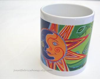 Mug with Original Art Image, Coffee Tea Mug, gift for Coffee Lover, Kitchen Housewares, Celestial Theme, Sun Moon, Colorful Kitchenware Cup