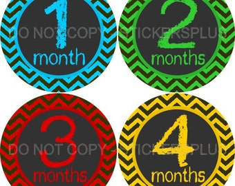 Baby Month Stickers Monthly Baby Stickers Milestone Stickers Bodysuit Monthly Stickers Plus FREE Gift Boy Chalkboard Chalk Bright Chevron