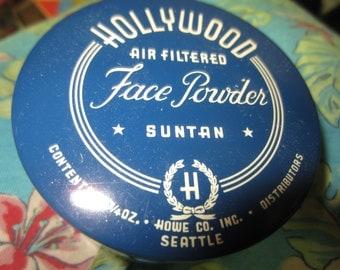 Vintage HOLLYWOOD Glass Face Powder Jar Air Filtered Suntan Howe Co., Inc Seattle Art Deco Style