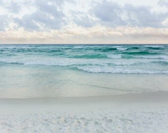 Ocean photography, beach photo, powder blue, beige, waves, tide, clouds, pastel shades, romantic, Florida, Gulf of Mexico