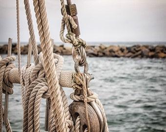 "Sailboat Photography, Sailboat Fine Art Print, Coastal Home Decor, Masculine Office Decor, Nautical Print ""Learning The Ropes"""