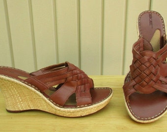 vintage 80s tan braided woven leather open toe platform wedge sandals slides 9 cherokee cutouts