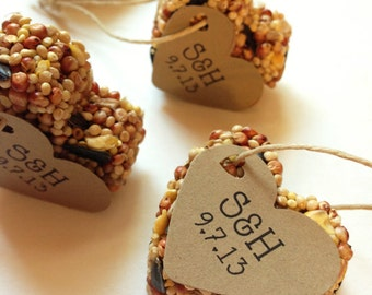 150 Bird Seed Heart Shaped Favor MINI- Wedding and Events - Personalized bird seed favors - weddings - parties