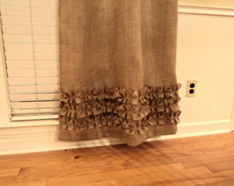 Two Burlap Curtain Panels with Ruffles