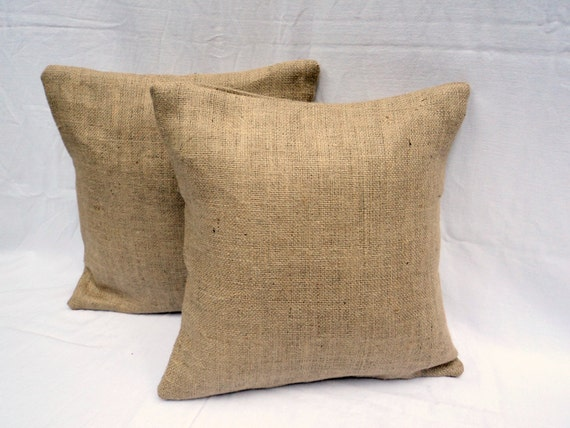 Burlap Pillow Set of 2 Decorative Pillow Covers by theruffleddaisy