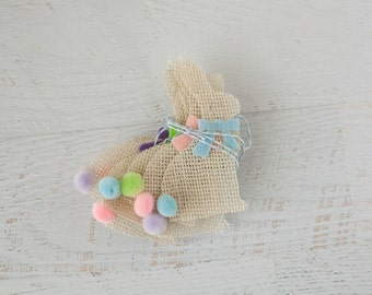 SALE Light Off White Burlap Cottontail Bunny Bunting Garland with Pastel Colors