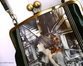 Art deco kisslock clutch - Neo Victorian style shoulder bag - Steampunk accessories - Original art collage - Hand Made by Gill Scott