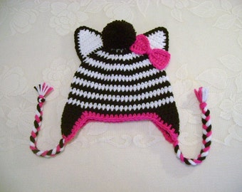 READY TO SHIP - 3 to 5 Year Size - Zebra Stripe Crocheted Hat with Pink Bow and Trim