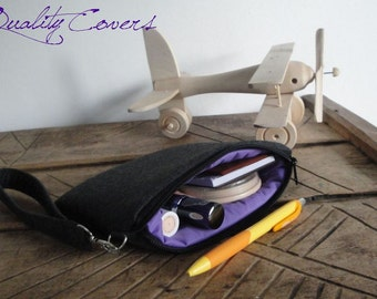 Padded WRISTLET bag - Wristlet PURSE - CLUTCH Purse / Cell Phone ZipperPOUCH - CosmeticPurse - cameraWALLET Detachable Strap 7x5in / 18x13cm