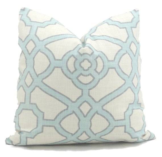 Lovesac Throw Pillow Covers : Decorative Pillow Cover Aqua and White Trellis Decorative