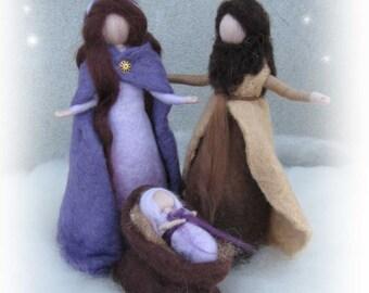 Needle felted and wet felted Nativity Set B felted, Holy Family