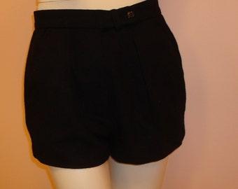 Black wool shorts by Halston
