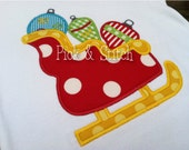Christmas Ornament Sleigh Applique Design Machine Embroidery INSTANT DOWNLOAD