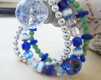 Bracelet Set Lampwork Turquoise Czech Glass Blue