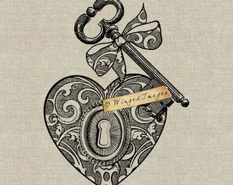Antique Key Keyhole Ornate Heart Instant Download Digital Image No.241 Iron-On Transfer to Fabric (burlap, linen) Paper Prints (cards, tags)