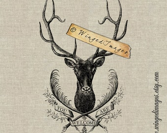 You Are Welcome Deer. Instant Download Digital Image No.212 Iron-On Transfer to Fabric (burlap, linen) Paper Prints (cards, tags)