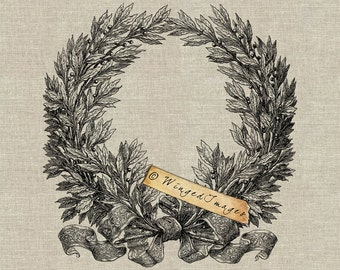 Large Laurel Wreath Instant Download Digital Image No.167 Iron-On Transfer to Fabric (burlap, linen) Paper Prints (cards, tags)