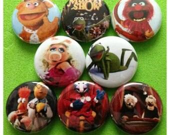 """8 Brand New 1"""" """"Muppet Show"""" Button Set"""