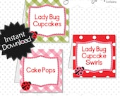 Easy to Edit Lady Bug Food Labels - Instant Download PDF Template, have it edited & printed within minutes, instructions included .. lbp01