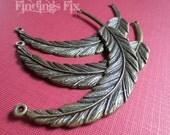 5X - antiqued bronze large feather necklace pendant asymmetrical connectors