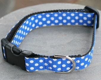 """Ready To Ship - 1"""" Large Dog Collar  - Blue Polka Dots"""