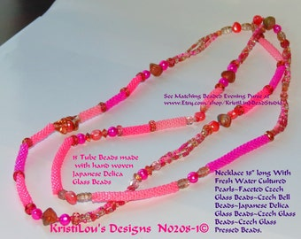 """Sale!! Delica Bead Tubes, Pink Freshwater Cultured Pearls Delica and Seed Beaded Necklace 38"""" FREE SHIP USA"""