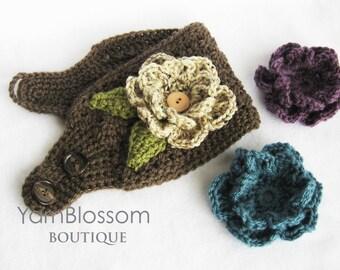 Crochet Ear Warmer PATTERN -Ear Warmer with Interchangeable Flowers- headband pattern crochet flower winter PDF instant download