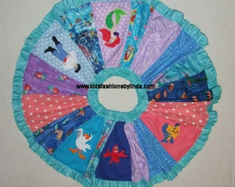 Stripwork Twirl Skirt with Mermaid Applique