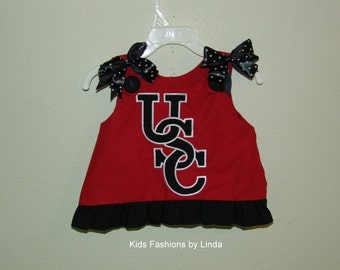 Red Aline Dress with USC Applique with Go Cocks On Back