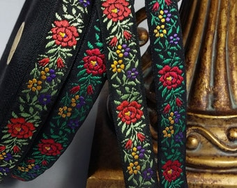 Black Vintage Jacquard woven ribbon trim with embroidered  florals  #970-08 and 970-09