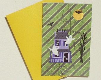 Haunted House Halloween Card - Happy Halloween Card - Halloween Card - Kids Halloween Card - Ghost Halloween Card - Haunted House