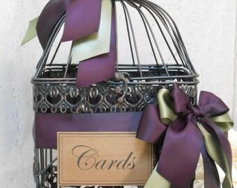 Wedding Card Holder / Birdcage Cardholder / Rustic Card Box / Plum / Eggplant Wedding Decor