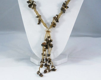 Long Tiger Eye and Glass Bead Multi - Strand Necklace