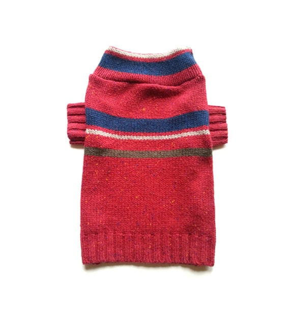 Designer Dog Sweater Boutique, Small Maroon Striped Pet Puppy Apparel Clothes