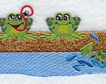 Frogs on a Log Embroidered Flour Sack Hand/Dish Towel