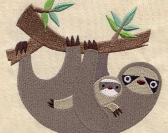 Sloth Embroidered Flour Sack Hand/Dish Towel