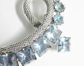 Vintage Blue Rhinestone Rope Brooch 60s