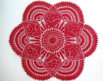 Crochet doily ,  large doily ,  red , lace tablecloths , 25 inches