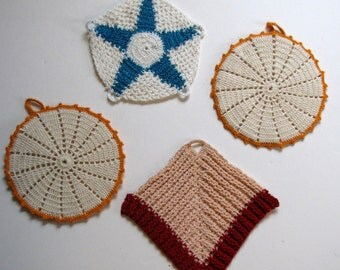 Vintage Crocheted Hot Pads - set of four