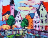 Original Fine Art Painting Oil Palette knife Impasto Bruge View 6x6 inches by Elizabeth Elkin