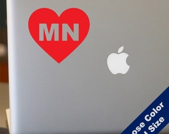 I Heart Minnesota Decal - Love - for Laptop, Car, iPhone