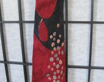 Vintage 1940s Silk Necktie by Superba Tie Maroon Dark Red Black Blue Ivory Cravat Leaves and Circles
