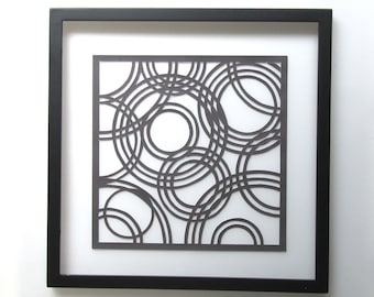 Paper Cut Wall Art w/CIRCLES of LIFE, ORIGINAL Geometric Design Home Décor Handcut Handmade in Metallic Black FRAMeD & Signed One of a Kind