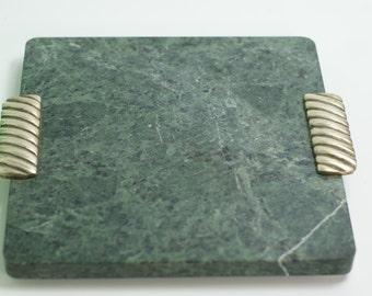 Marble Briard Platter Brass Handles. Cheese Platter. Entertain. Georges Briard